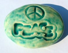 PEACE SIGN PEACE Pocket Stone  Ceramic  Turquoise by InnerArtPeace, $6.00