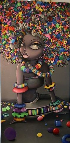 graffiti black hair art