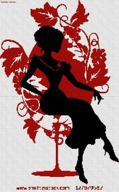 0 point de croix silhouette noir et rouge fille assise chaise en forme verre vin - cross stitch black and red girl  sitting in a glass of wine shaped chair