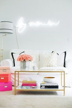 Love this gold coffee table!