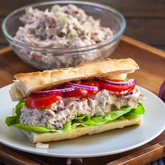Pecans  and Tuna Sandwich  Comments: I've made this and substituted almonds for pecans, and this is The Best Tuna Fish I have ever tasted! The almonds, celery, and red onions give a very great crunch, and the raisins add a hint of sweetness. Very delicious! I don't miss the eggs, either. This would go great with chicken as well.