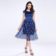 Women's+Going+out+/+Plus+Size+Sophisticated+Chiffon+Dress,Print+Round+Neck+Midi+Sleeveless+Blue+Polyester+Summer+High+Rise+Micro-elastic+–+GBP+£+12.29