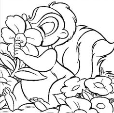 Thumper Kissing Flower Coloring Pages - Bambi car coloring pages