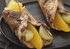 Petits rouleaux de crêpes raisins orange choco caramel