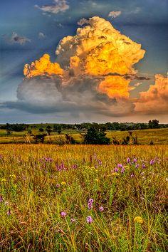 Stormy Pasture, flinthill, Kansas, USA.