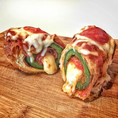 Pepperoni Pizza Jalapeño Popper [2336 x 2347]: Pepperoni wrapped cheese stick, dipped in marinara sauce, stuffed in a jalapeño, wrapped in more pepperoni, wrapped in phyllo dough and deep fried. Then, dressed like a pepperoni pizza.