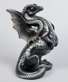 Rising Spectral Dragon Handmade Statue -- Silver-- Windstone Editions -- Gorgeously Detailed Mythical Figurine -- 515-S