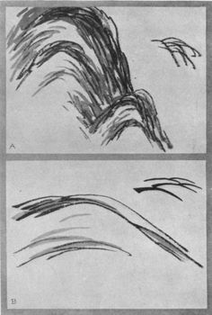 Scattered Hemp Leaves (a). Wrinkles on the Cow's Neck (b). Japanese Painting, Chinese Painting, Chinese Drawings, Hemp Leaf, Japanese Landscape, Chinese Brush, China Art, Painted Books, Japan Art