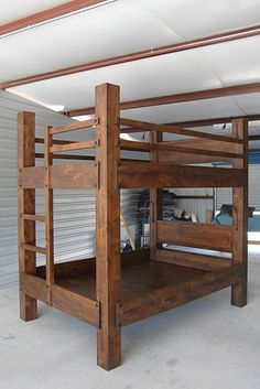 Tall Queen over Queen Bunk Bed. Made for rooms with ceiling heights over 9 feet. Shown with optional headboards, gooseneck reading lights and extra safety rails on the top bunk. Shown in Dark Walnut finish.