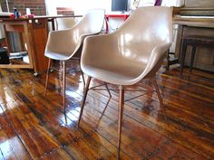mid century modern chairs- i'd like a pair of these in a bright color!