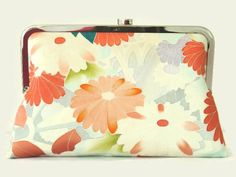 Pink Silk Clutch Purse With A Pastel Floral by SimplySilkScarves