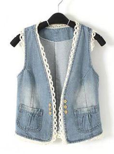Designer Clothes, Shoes & Bags for Women Denim Corset, Denim And Lace, Blue Denim, Denim Waistcoat, Denim Vests, Diy Crafts Dress, Cut Shirt Designs, Denim Ideas, Casual Outfits