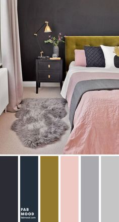 charcoal bedroom wall with pink, bedroom with pink accents, dark bedroom with pink, dark blue bedroom Blue And Pink Bedroom, Dark Blue Bedrooms, Pink Bedroom Walls, Bedroom Wall Colors, Accent Wall Bedroom, Bedroom Color Schemes, Room Ideas Bedroom, Home Decor Bedroom, Blush Pink Bedroom