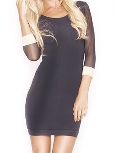 Sexy Black & Apricot Back Hollow 3/4 Sleeve Mini Bodycon Dress