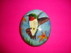 Hummingbird Hand Painted on a Rock