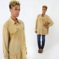 vintage 90s tan SILK oversized SLOUCHY gold STUDDED shirt size XL by PasseNouveauVintage, $55.00
