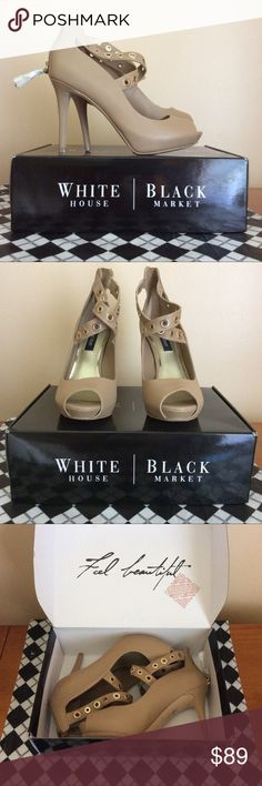 White House Black Market Peep toe New in original box. WHBM leather peep toe. 4.5-5in heels with 1 in platform. Gold accents. Check out matching NWT WHBM handbag while available!!! White House Black Market Shoes Heels