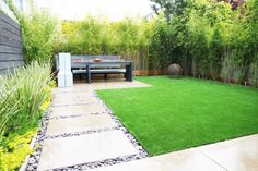 Garden - Elegant But Simple Home Backyard Setting With Cool Backyard Designs Of Bamboo Covering The Fence And Wall: Awesome Backyard Designs Ideas for Relaxing Living Space Concept