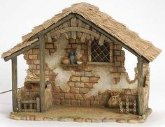 Inch Scale 8 Piece Lighted Nativity Set with Stable by Fontanini Fontanini Nativity, Nativity Stable, Garage Makeover, Nativity Crafts, Ceramic Houses, Christmas Villages, Polymer Clay Creations, Paper Toys, Crafts To Do