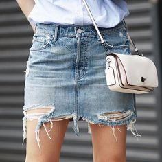 All about the denim skirt right now.