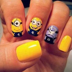 50 Adorable Despicable Me Minion Nail Designs @Lauren Davison Davison Davison Ekers also....ANSWER YOUR PHONE