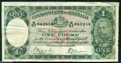 AUSTRALIA  OLD  £1  PREDECIMAL NOTE R28 RIDDLE SHEEHAN IN FINE CONDITION