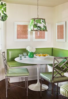 green bamboo chair+sarrinen+contemporary dining room by Caitlin Moran Interiors