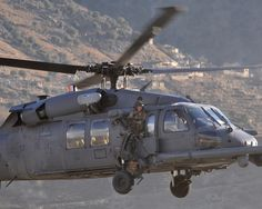 USAF HH-60 medium lift helicopter returns to the Bagram Air Base in Afghanistan