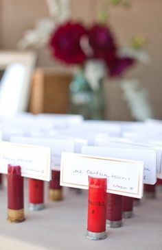 shotgun shell place cards - could be used for our Hunting Season Dinner Party to showcase our harvests. Instead of name cards, they would display the name of each dish. ex) Wild Turkey with a Persimmon & Blackberry Glaze