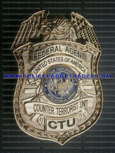 Federal Agent - USA Counter Terrorist Unit (CTU) badge.  Available at www.policebadgetrader.com