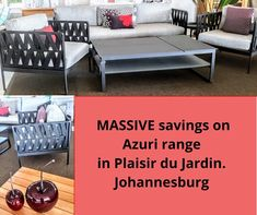 Visit our showroom in Bryanston ! Lounge Suites, Cushion Fabric, Outdoor Cushions, Furniture Companies, Furniture Collection, Your Space, Showroom, Contemporary Design, Outdoor Living