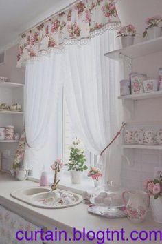 Find more ideas: Shabby Chic Kitchen Curtains Vintage Kitchen Curtains Country Kitchen Curtains Kitchen Cur Shabby Chic Kitchen Curtains, Country Kitchen Curtains, Shabby Chic Homes, Cortinas Country, Rideaux Design, Cool Kitchens, Cool Designs, Floral Designs, Kitchen Design