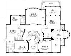 Second Floor Plan of European   Hillside   Luxury   House Plan 72163