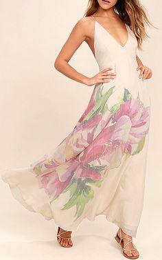 Zen Garden Cream Floral Print Maxi Dress via @bestmaxidress