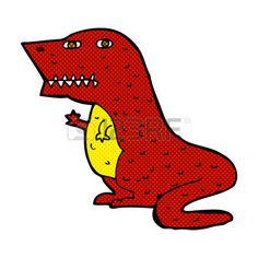 динозавр: ретро стиль комиксов мультфильм иллюстрации динозавра