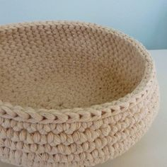 Crocheted from thick cotton utility string, this bowl has both strength and charm.