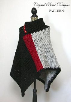 Crochet Poncho PATTERN / Womens Chunky Color Block Poncho Pattern / One Size Fits All / Made in Canada /Baldwin Poncho