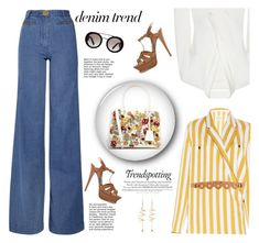 """Denim Trend: Wide Leg Denim"" by fashionbrownies ❤ liked on Polyvore featuring Lover, Maison Margiela, Yves Saint Laurent, Jonathan Simkhai, Prada, Carven and E L L E R Y"