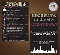 Bachelorette Party NYC Invite/Itinerary