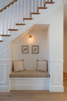 Reading Nook Under Stairs Home Stairs Design, Home Room Design, Home Interior Design, House Design, Staircase In Living Room, House Stairs, Staircase Storage, Stair Storage, Hidden Storage