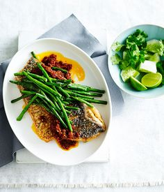 Australian Gourmet Traveller fast recipe for crisp fish with sambal and snake beans.