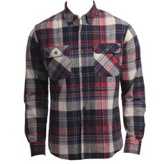 Brixton Clothing Mens Flannel Bowery White Navy Red  www.hansensurf.com