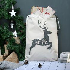 Personalised Reindeer Name Christmas Sack - stockings & sacks