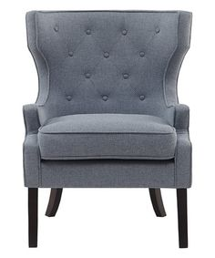 Slate Gray Tufted Wing Chair #zulily #zulilyfinds