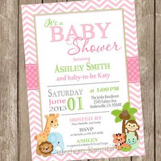 Hey, I found this really awesome Etsy listing at https://www.etsy.com/listing/158397196/girl-jungle-baby-shower-invitation