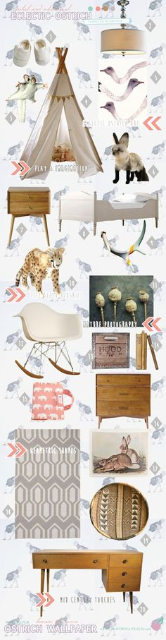 California Peach: Eclectic Ostrich | Toddler Bedroom -- Girl, Pink, Grey, Wallpaper, Wall Decals, Baby Room, Nursery, Mid Century, Teepee, Toddler Room, Africa, Jungle, Safari, Wild, Natural, Nature, Decor, Nursery, Baby Room, Style Board, Mythic Paint, Non-Toxic, Green 0VOC, Eco Friendly, Organic