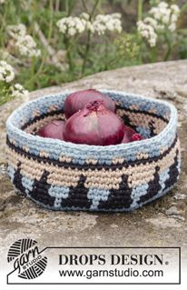 "Maia Basket - Crochet DROPS basket with colour pattern in 2 strands ""Paris"". - Free pattern by DROPS Design"