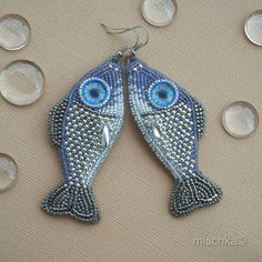 Bead Embroidered Earrings Little Fishes