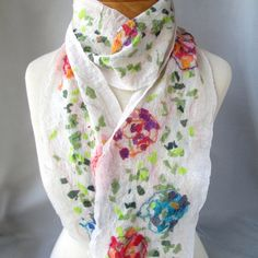 White nuno felted scarf with spring colors
