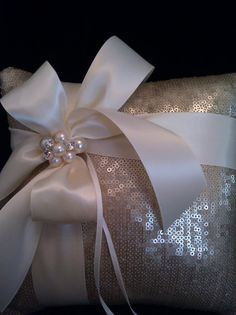 Frosted Gold Metallic Sequin Ring Bearer Pillow by simplybridal1, $65.00